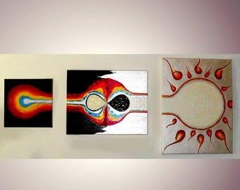 "Change - acrylic on canvas - set of 3 - 12"" X 12"" -  16"" X 20"" - 18"" X 24"". by: Cringle"