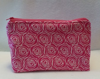 Zipper Pouch - Pink / White - Lined