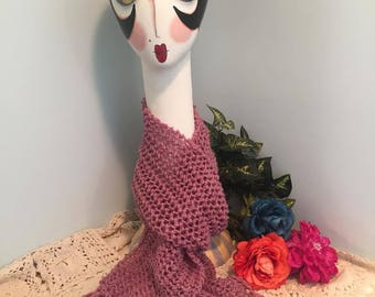 Lace Whispers Handmade Knit Fringed Scarf-Rose Heather