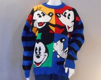 Vintage Mickey Mouse Sweater Colorblock 1980s Minnie Goofy