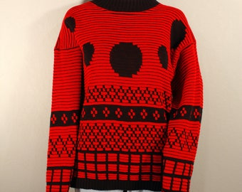 Vintage 80's Geometric sweater;hipster sweater