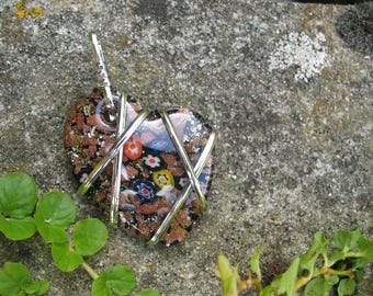 Glass millefiori heart pendant