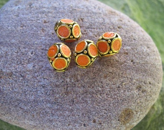 Indonesian orange and gold polymer clay beads