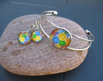 Set bracelet and earrings Orange streaks