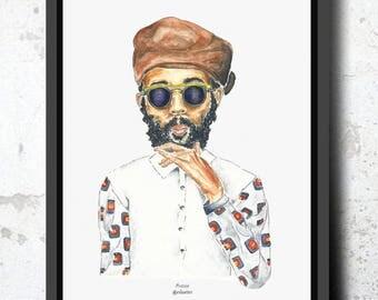 Digitized sheet of original watercolor. Male portrait. Artist, singer, singer, Blackman, portrait, artist, reggae.