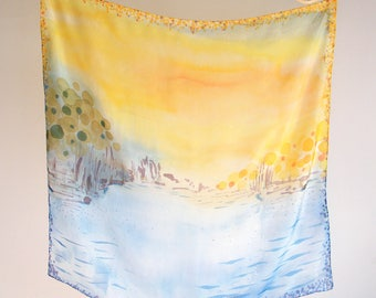 "Hand painted silk scarf ""Nostalgic Sunset"" by Gabren; beautiful handmade gift for woman; 85x85cm (33.5x33.5in)"