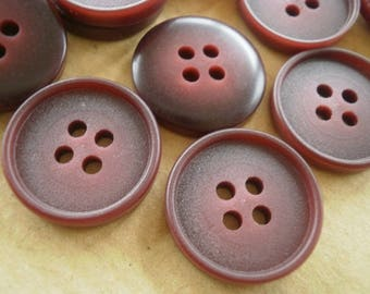 Set of 4 round buttons with four holes, Burgundy colors, 18 mm diameter