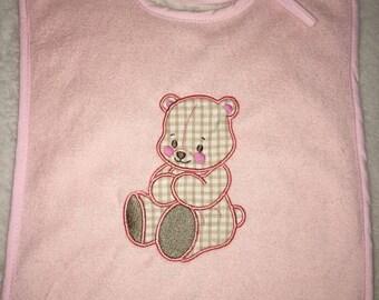 Teddy bear applique bib