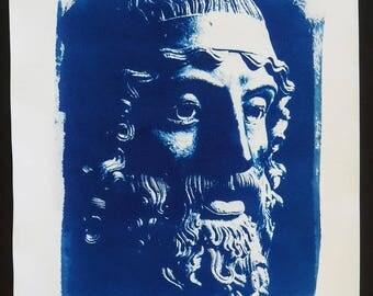 Greek warrior of Riace, cyanotype