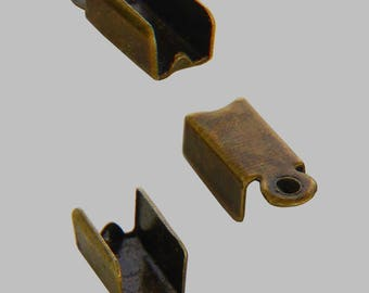 Bag of 100 Ong crimp ends fold bronze - free shipping