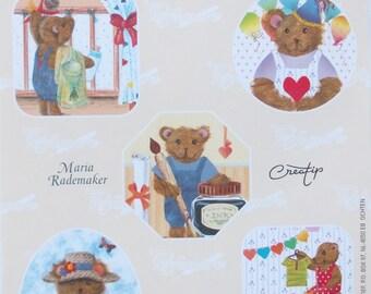 LOT DE 10 FEUILLES papier fantaisie pour  scrapbooking - OURSONS by Maria Rademaker .ref 651