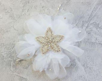 Chiffon white and rhinestone bridal hair jewelry