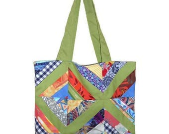Tote bag Green and multicolor patchwork