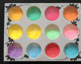 Pack of 12 small boxes of neon glitter