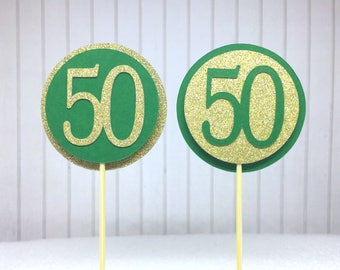 "50th Birthday Cupcake Toppers - Gold Glitter & Emerald Green ""50"" - Set of 12 - Elegant Cake Cupcake Age Topper Picks Party Decorations"