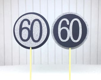 """60th Birthday Cupcake Toppers - Silver Glitter & Black """"60"""" - Set of 12 - Elegant Cake Cupcake Age Topper Picks Party Decorations"""
