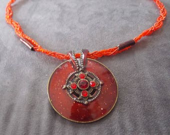 Necklace red and orange round Locket