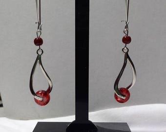 Red wave earrings