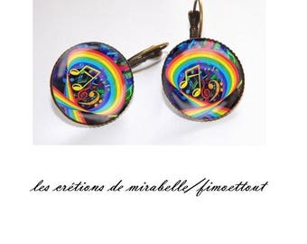 oreillle colorful music, glass cabochon earring