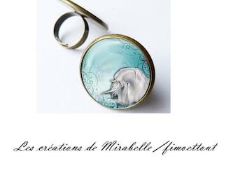 ring cabochon resin epoxy image Unicorn