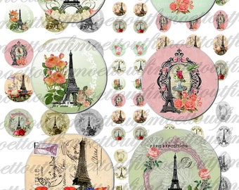 60 images digital paris so romantic round 25.12 oval cabochon 18 x 13/vintage (send email)