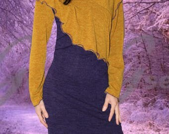 woolen dress two-tone purple and mustard yellow, unique piece