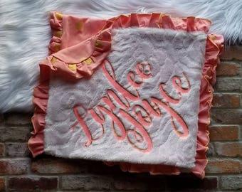 Gold Polka Dot Blanket, Personalized Baby Blanket, Baby Shower Gift, Minky Blanket, Mimis Lil Workshop, Baby Minky Blanket, Stroller Blanket