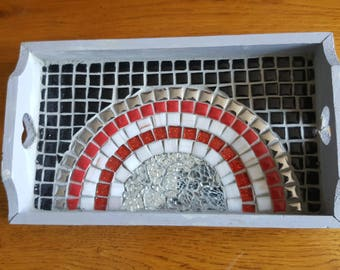 small wooden tray decorated with mosaic red black white and silver