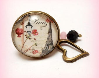 """Ring cabochon glass Retro """"Romantic Paris!"""""""