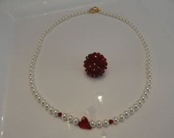 Mother of Pearl Necklace with red heart Swarovski