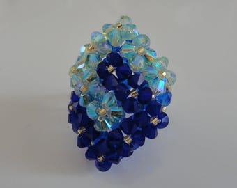 HAND made blue and green 2 square Swarovski Crystal beads intertwined ring