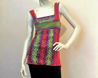 "Tunic multicolor knit/crochet ""Petals"""