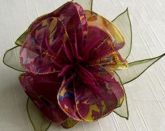 Large barrette flower fabric & feathers and pearls 055