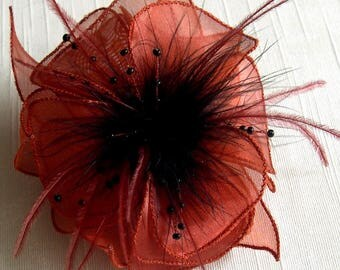 Flower brooch made of organza orange rust, feathers and beads
