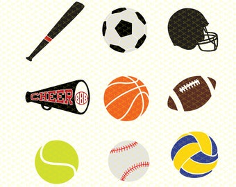 Sports Balls SVG, DXF, PNG, Eps Cutting Pack, Basketball, Football, Soccer, Volleyball, more for Scrapbooking, Cricut and Silhouette