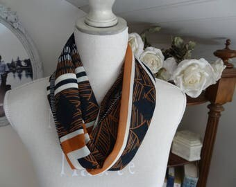 Printed polyester chiffon infinity scarf