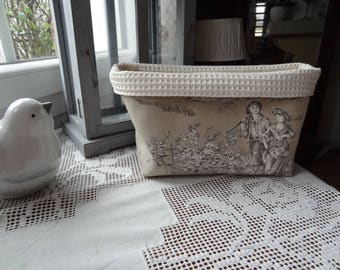 Large canvas of Jouy pastoral taupe and ecru tidy