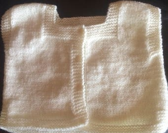 Baby Cardigan 6/9 month white sleeveless, sailor shape, hand-knitted.