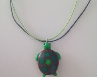 Green Turtle fimo necklace