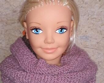 Hidden shoulder or snood in Heather pink