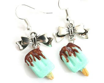 Earrings ~ ice mint chocolate popsicle