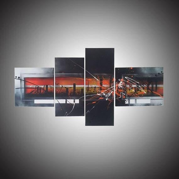 toile abstraite grand format tableau moderne contemporain. Black Bedroom Furniture Sets. Home Design Ideas