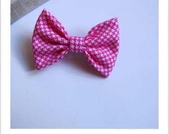 "hair bow ""clip - me"" pink houndstooth cotton"