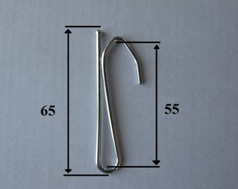 Steel nickel-plated to insert curtain hooks size 65mm, a branch high 55 mm - set of 15 units