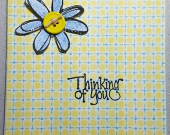 Yellow & Blue, Thinking of You Handmade Card