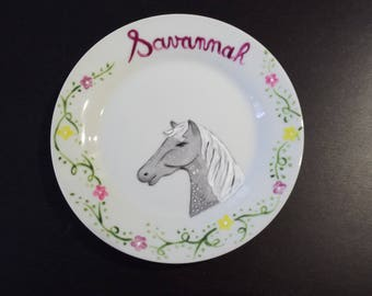 """painted porcelain """"horse"""" personalized with name plate"""