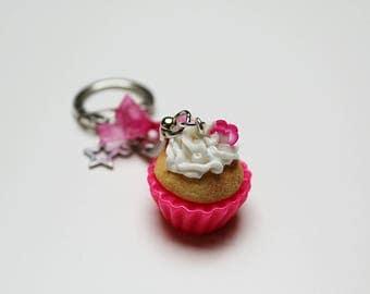 Keychain - Pink Cupcake polymer clay