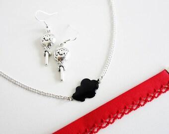 """Parure """"Pop"""" Collier nuage - Bracelet Liberty - Boucles d'oreilles Sucettes // Couleur Argenté, Rouge et Noir // Collection So Mademoiselle"""