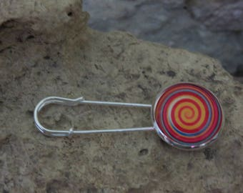 """Collection""""psychedelic"""" 1 safety pin brooch"""