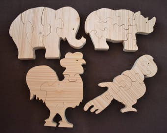 Puzzles to eight pieces tree animals